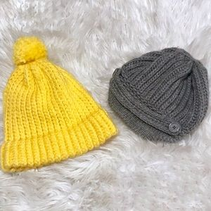 2/$15 Merona Yellow Gold and Gray Beanie Knit Hats